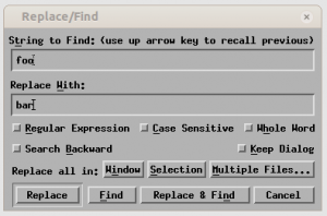 Search and replace dialog in nEdit